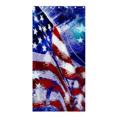 American Flag Red White Blue Fireworks Stars Independence Day Shower Curtain 36  X 72  (stall)