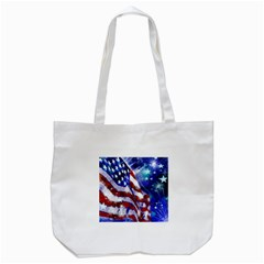 American Flag Red White Blue Fireworks Stars Independence Day Tote Bag (white)