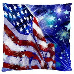 American Flag Red White Blue Fireworks Stars Independence Day Large Flano Cushion Case (one Side)