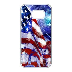 American Flag Red White Blue Fireworks Stars Independence Day Samsung Galaxy S7 Edge White Seamless Case