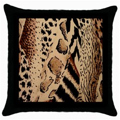 Animal Fabric Patterns Throw Pillow Case (black) by Sapixe