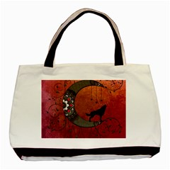 Black Wolf On Decorative Steampunk Moon Basic Tote Bag by FantasyWorld7