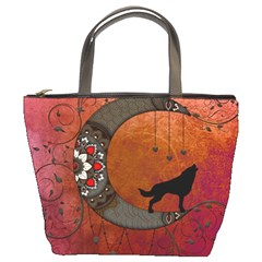 Black Wolf On Decorative Steampunk Moon Bucket Bags by FantasyWorld7