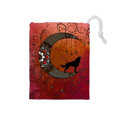 Black Wolf On Decorative Steampunk Moon Drawstring Pouches (medium)