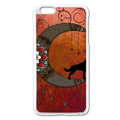 Black Wolf On Decorative Steampunk Moon Apple Iphone 6 Plus/6s Plus Enamel White Case by FantasyWorld7