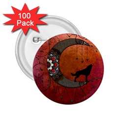 Black Wolf On Decorative Steampunk Moon 2 25  Buttons (100 Pack)  by FantasyWorld7