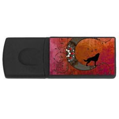 Black Wolf On Decorative Steampunk Moon Rectangular Usb Flash Drive by FantasyWorld7