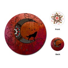 Black Wolf On Decorative Steampunk Moon Playing Cards (round)  by FantasyWorld7