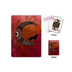 Black Wolf On Decorative Steampunk Moon Playing Cards (mini)  by FantasyWorld7