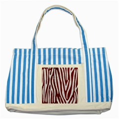 Skin3 White Marble & Red Grunge (r) Striped Blue Tote Bag by trendistuff