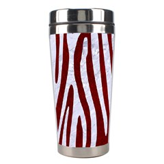 Skin3 White Marble & Red Grunge (r) Stainless Steel Travel Tumblers by trendistuff