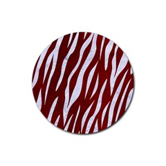 Skin3 White Marble & Red Grunge Rubber Coaster (round)  by trendistuff