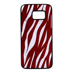 Skin3 White Marble & Red Grunge Samsung Galaxy S7 Black Seamless Case by trendistuff