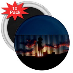 Art Sunset Anime Afternoon 3  Magnets (10 Pack)