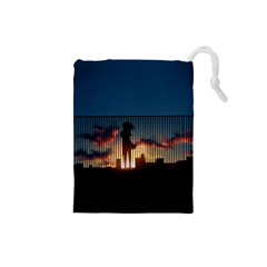 Art Sunset Anime Afternoon Drawstring Pouches (small)  by Sapixe