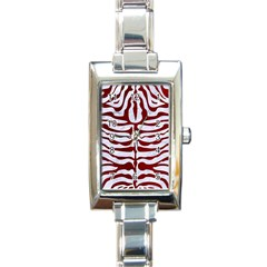 Skin2 White Marble & Red Grunge (r) Rectangle Italian Charm Watch by trendistuff