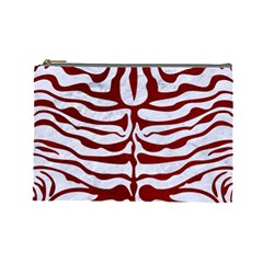 Skin2 White Marble & Red Grunge (r) Cosmetic Bag (large)  by trendistuff
