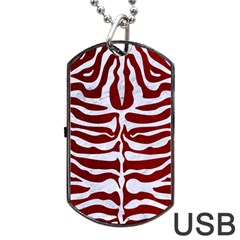 Skin2 White Marble & Red Grunge Dog Tag Usb Flash (one Side) by trendistuff