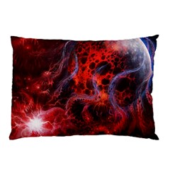 Art Space Abstract Red Line Pillow Case by Sapixe