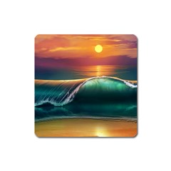 Art Sunset Beach Sea Waves Square Magnet by Sapixe