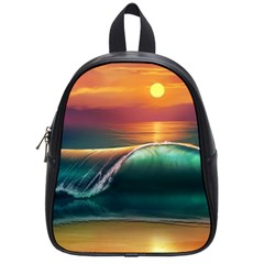 Art Sunset Beach Sea Waves School Bag (small) by Sapixe
