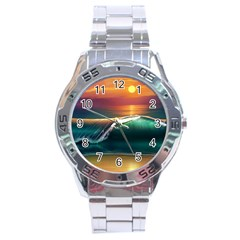 Art Sunset Beach Sea Waves Stainless Steel Analogue Watch by Sapixe