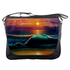 Art Sunset Beach Sea Waves Messenger Bags