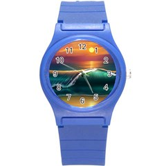 Art Sunset Beach Sea Waves Round Plastic Sport Watch (s) by Sapixe
