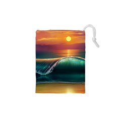 Art Sunset Beach Sea Waves Drawstring Pouches (xs)  by Sapixe