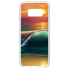 Art Sunset Beach Sea Waves Samsung Galaxy S8 White Seamless Case by Sapixe