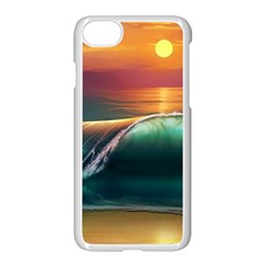 Art Sunset Beach Sea Waves Apple Iphone 8 Seamless Case (white) by Sapixe