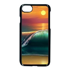Art Sunset Beach Sea Waves Apple Iphone 8 Seamless Case (black) by Sapixe