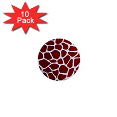 Skin1 White Marble & Red Grunge (r) 1  Mini Magnet (10 Pack)  by trendistuff