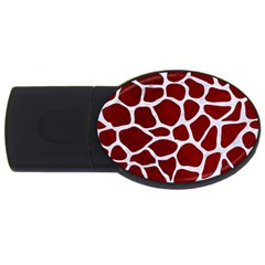 Skin1 White Marble & Red Grunge (r) Usb Flash Drive Oval (2 Gb) by trendistuff