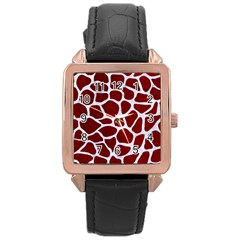 Skin1 White Marble & Red Grunge (r) Rose Gold Leather Watch  by trendistuff
