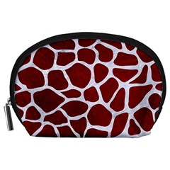 Skin1 White Marble & Red Grunge (r) Accessory Pouches (large)  by trendistuff