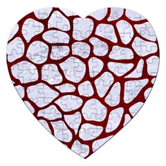 Skin1 White Marble & Red Grunge Jigsaw Puzzle (heart) by trendistuff