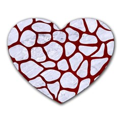 Skin1 White Marble & Red Grunge Heart Mousepads by trendistuff
