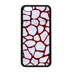 Skin1 White Marble & Red Grunge Apple Iphone 5c Seamless Case (black) by trendistuff