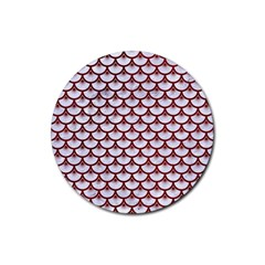 Scales3 White Marble & Red Grunge (r) Rubber Coaster (round)  by trendistuff
