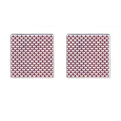 Scales3 White Marble & Red Grunge (r) Cufflinks (square) by trendistuff