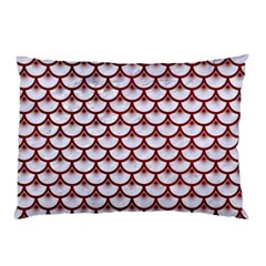 Scales3 White Marble & Red Grunge (r) Pillow Case by trendistuff