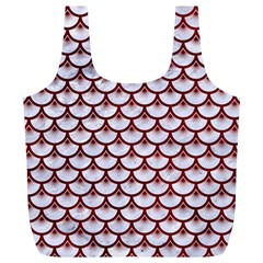 Scales3 White Marble & Red Grunge (r) Full Print Recycle Bags (l)  by trendistuff