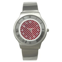 Scales3 White Marble & Red Grunge Stainless Steel Watch by trendistuff