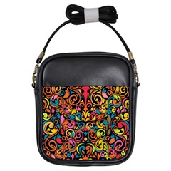 Art Traditional Pattern Girls Sling Bags by Sapixe