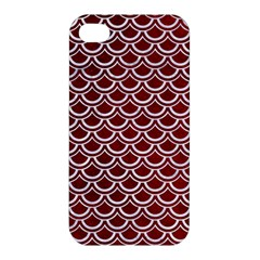 Scales2 White Marble & Red Grunge Apple Iphone 4/4s Hardshell Case by trendistuff