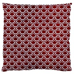 Scales2 White Marble & Red Grunge Large Flano Cushion Case (one Side) by trendistuff