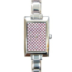 Scales1 White Marble & Red Grunge (r) Rectangle Italian Charm Watch by trendistuff