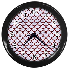 Scales1 White Marble & Red Grunge (r) Wall Clocks (black) by trendistuff