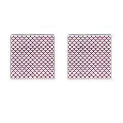 Scales1 White Marble & Red Grunge (r) Cufflinks (square) by trendistuff